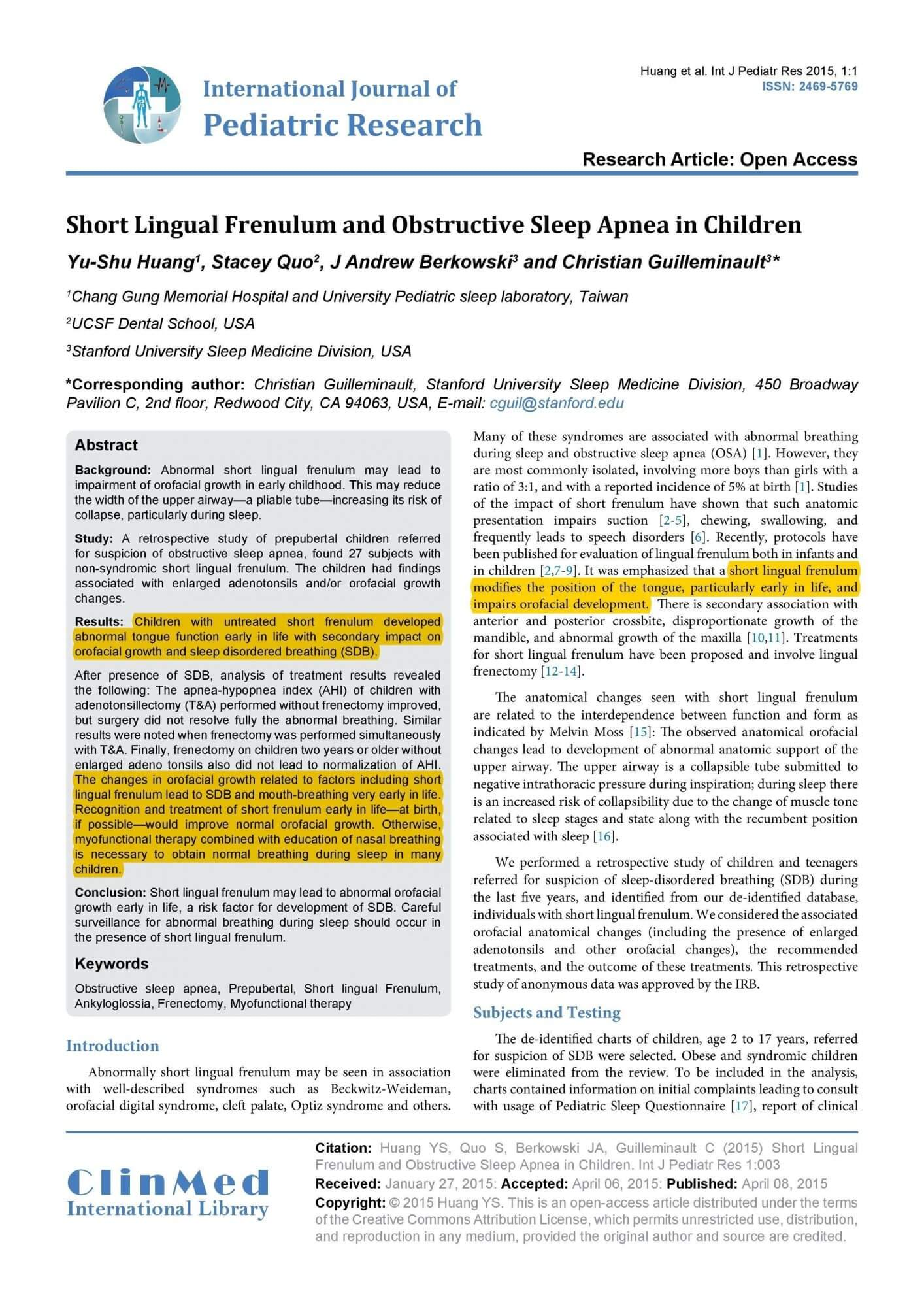 Short Lingual Frenulum and Obstructive Sleep Apnea in Children-1